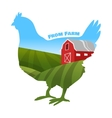 hen with farm background inside concept fresh vector image vector image