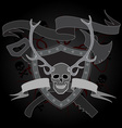 horned skull coat of arms vector image vector image