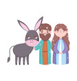 joseph and mary with donkey manger nativity merry vector image vector image