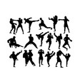 karate and martial art activity silhouettes vector image vector image