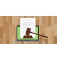 legal document with gavel and laptop vector image vector image