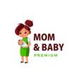 mom and baby thump up mascot character logo icon vector image
