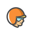 motorcyclist racer in helmet icon cartoon vector image