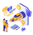 online sale purchase rental sharing car isometric vector image vector image