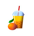 orange smoothies in a cup superfoods and health vector image vector image