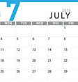 planning calendar July 2016 vector image vector image