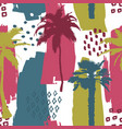 seamless exotic trendy pattern with palm trees vector image vector image