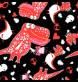seamless graphic pattern with enamored dinosaurs vector image vector image