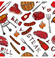 seamless pattern of summer bbq grill party beer vector image
