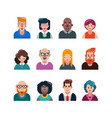 set of people flat avatars male and female faces vector image vector image