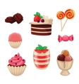 Set of sweets cakes cupcakes candy chocolate vector image
