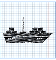 Ship icon with pen effect on paper vector image