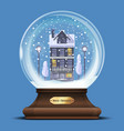 snow globe with a house under the snow vector image vector image