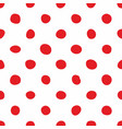 tile pattern with red polka dots on white vector image vector image