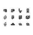 toilet paper roll towel flat glyph icons hygiene vector image