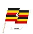 Uganda Ribbon Waving Flag Isolated on White vector image vector image