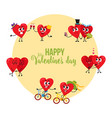 valentine day greeting card with couples of loving vector image