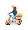 woman farmer riding electric scooter with harvest vector image vector image
