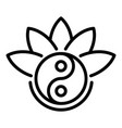 yin yang lotus icon outline style vector image vector image