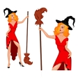 Young witch in a hat with broom Halloween vector image vector image