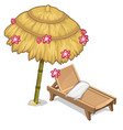 sun lounger and parasol decorated flowers vector image