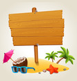 wood sign in the beach icon vector image