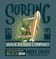 alligator wave rider surf team vector image