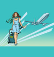 beautiful young woman with luggage at the airport vector image vector image
