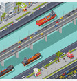 bridges in city isometric composition vector image vector image