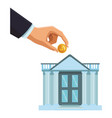 businessman hand depositing coin in bank building vector image