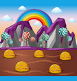 candy land with chocolate river and lolipop trees vector image vector image