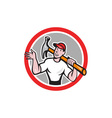 Carpenter Builder Hammer Circle Cartoon vector image vector image