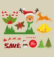 christmas decoration set icons vector image