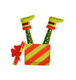 christmas elf legs and gift box vector image vector image