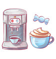 coffee making machine and cup beverage candy vector image vector image