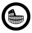 coliseum black icon in circle vector image