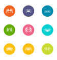 crayfish icons set flat style vector image vector image
