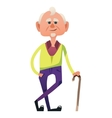 Cute old man with cane vector image