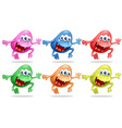 different color monsters jumping up vector image vector image