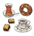 drawing set of turkish food and drinks vector image vector image