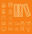 flat outline icons online education staff training vector image vector image