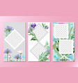floral social media stories background vector image vector image
