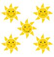Funny Cartoon Sun Little Faces vector image