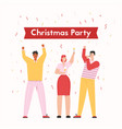 group happy people at christmas party vector image