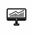 Growth graph on the computer monitor icon vector image vector image