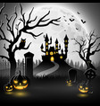 halloween background with castle and scary pumpkin vector image vector image