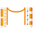 indian orange flower garland mala frame isolated vector image vector image