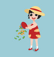little girl holding a coin and purse vector image