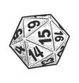 many sided dice line art sketch vector image vector image