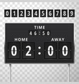 mechanical scoreboard with time and score home vector image